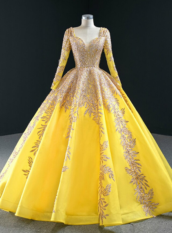 Yellow Ball Gown Tulle Sequins Appliques Long Sleeve Prom Dress