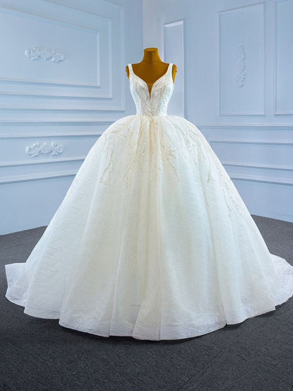 White Ball Gown Tulle Sequins V-neck Beading Wedding Dress