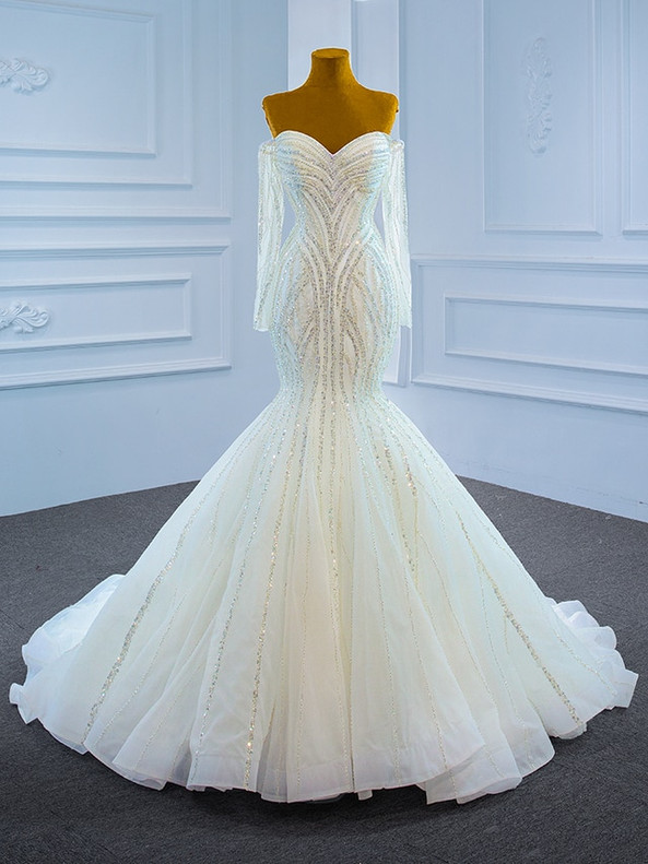 White Mermaid Tulle Long Sleeve Beading Sequins Wedding Dress