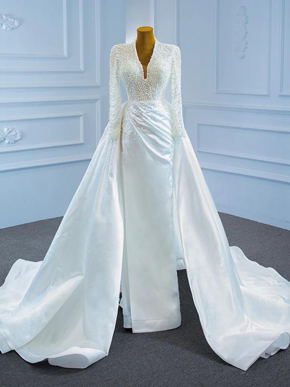 White Satin Backless Long Sleeve Pearls Wedding Dress