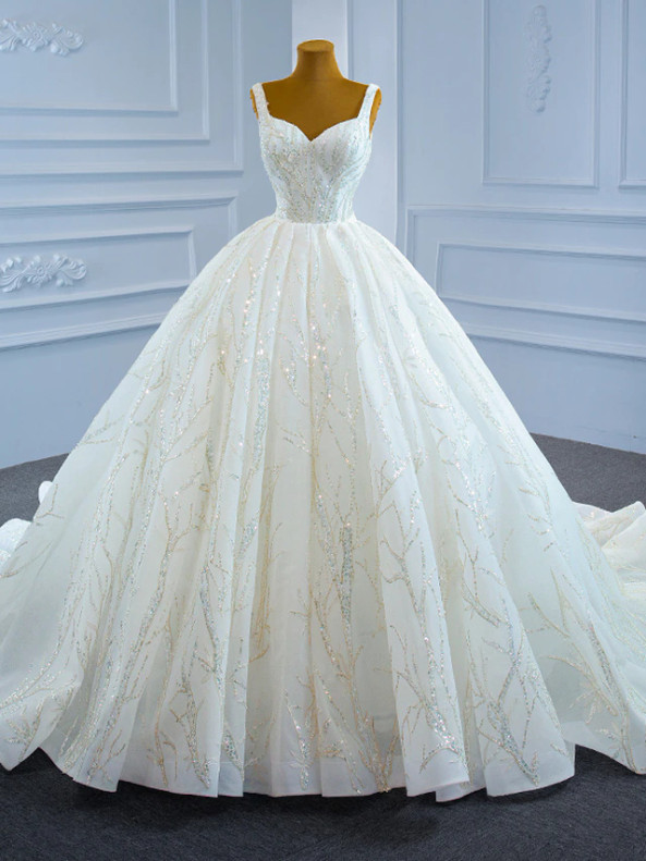 White Ball Gown Sequins Beading V-neck Wedding Dress