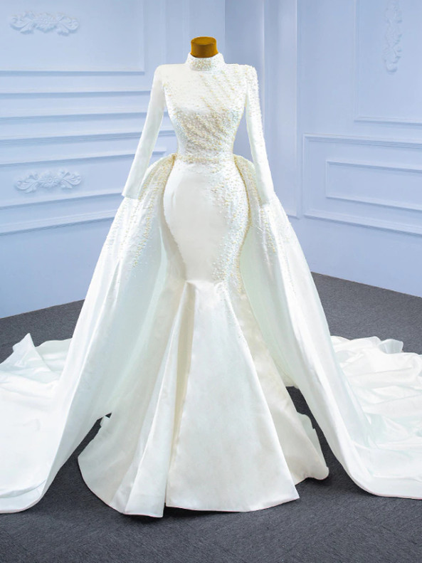White Mermaid Sequins High Neck Pearls Wedding Dress With Detachable Train