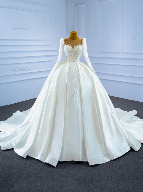White Ball Gown Satin Long Sleeve Pearls Wedding Dress