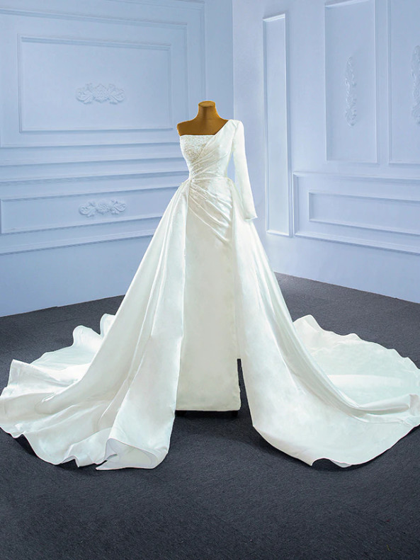 White Satin One Shoulder Pearls Wedding Dress With Split