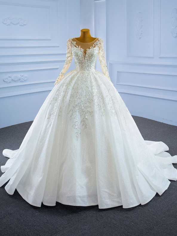 White Ball Gown Tulle Sequins Long Sleeve Wedding Dress