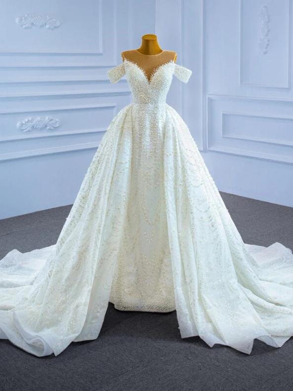 Distinctive Tulle Sequins Handwork Pearls Wedding Dress