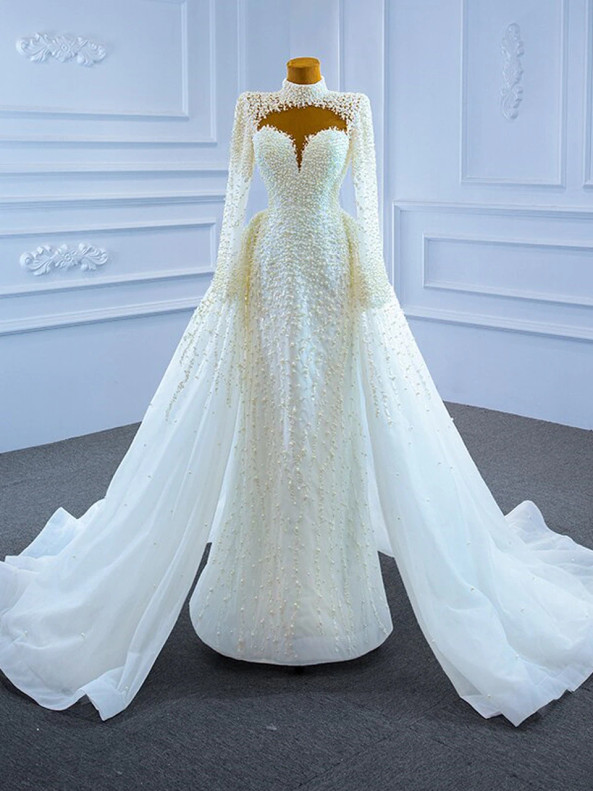 Modest White High Neck Pearls Wedding Dress
