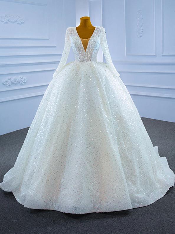 Temperament White Sequins V-neck Long Sleeve Wedding Dress