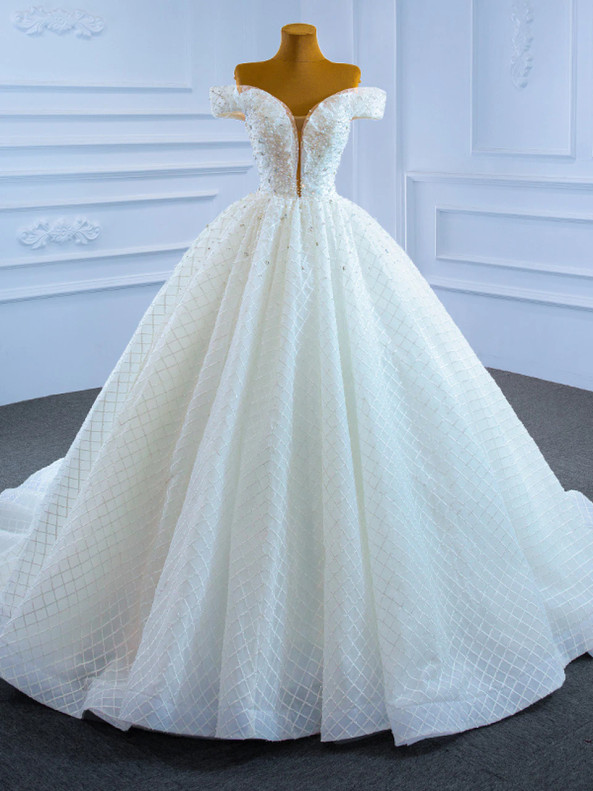 High quality White Tulle Off the Shoulder Pearls Wedding Dress