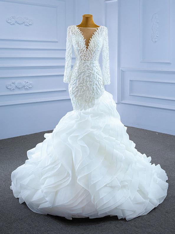 White Mermaid Long Sleeve Pearls Wedding Dress
