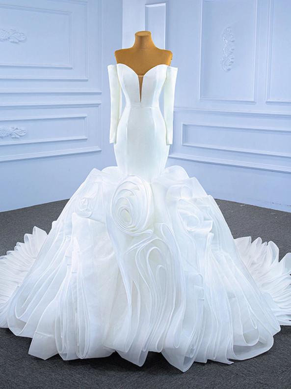 White Mermaid Satin Organza Long Sleeve Wedding Dress