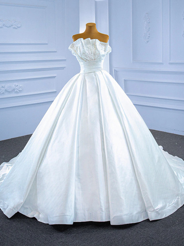White Satin Strapless Pleats Pearls Wedding Dress