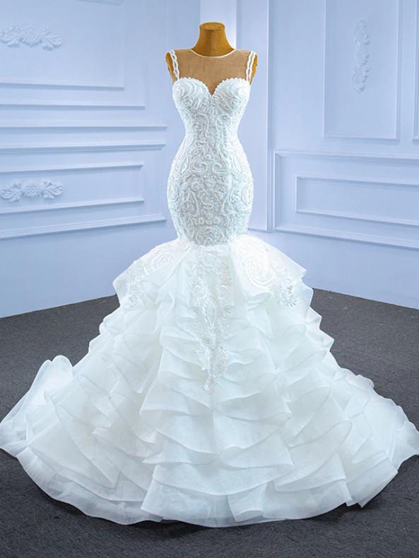 Sexy White Mermaid Tulle Appliques Beading Wedding Dress