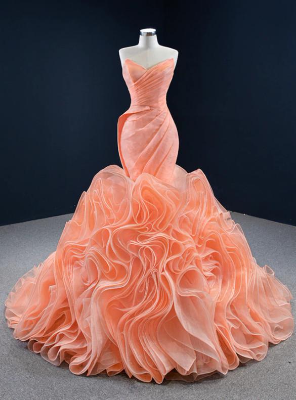 Orange Mermaid Strapless Pleats Prom Dress