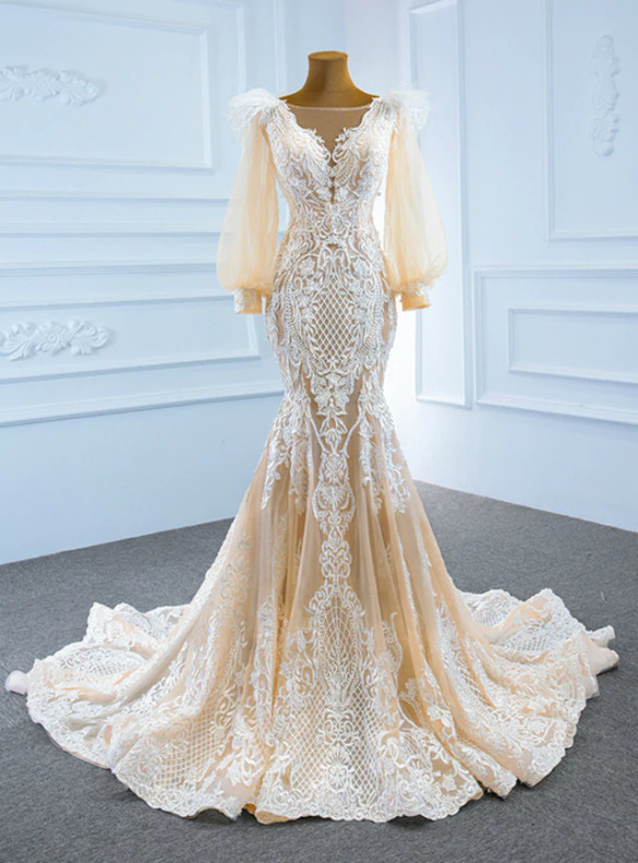 Champagne Mermaid Tulle Lace Appliques Porm Dress