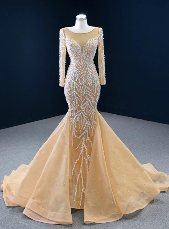 Mermaid Tulle Long Sleeve Pearls Prom Dress