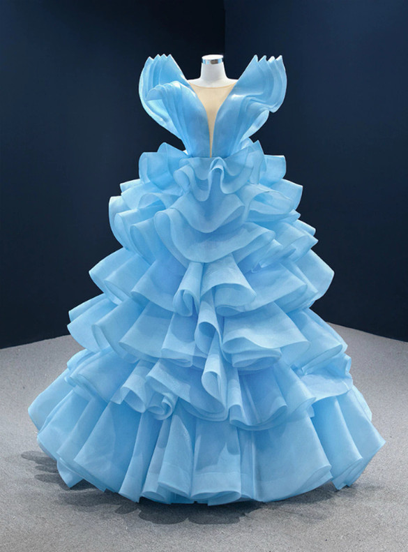 Blue Ball Gown Tiers Formal Prom Dress
