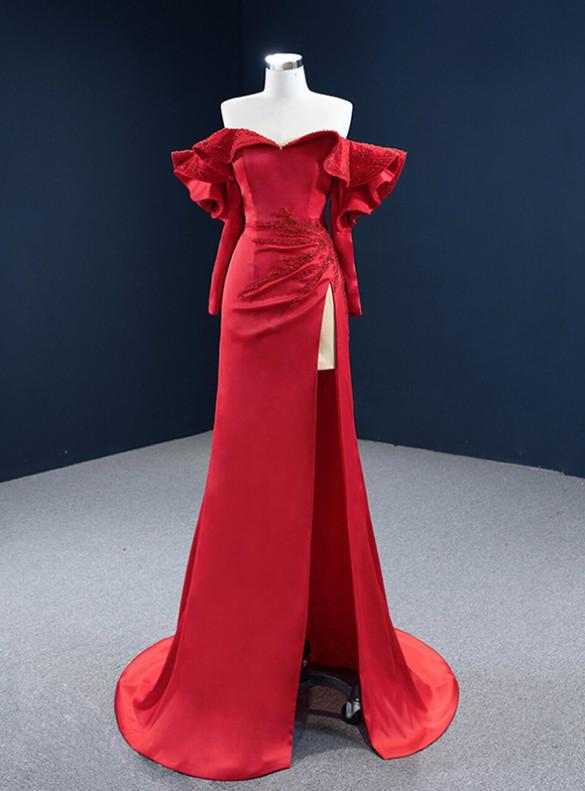 Red Mermaid Satin Long Sleeve Beading Prom Dress