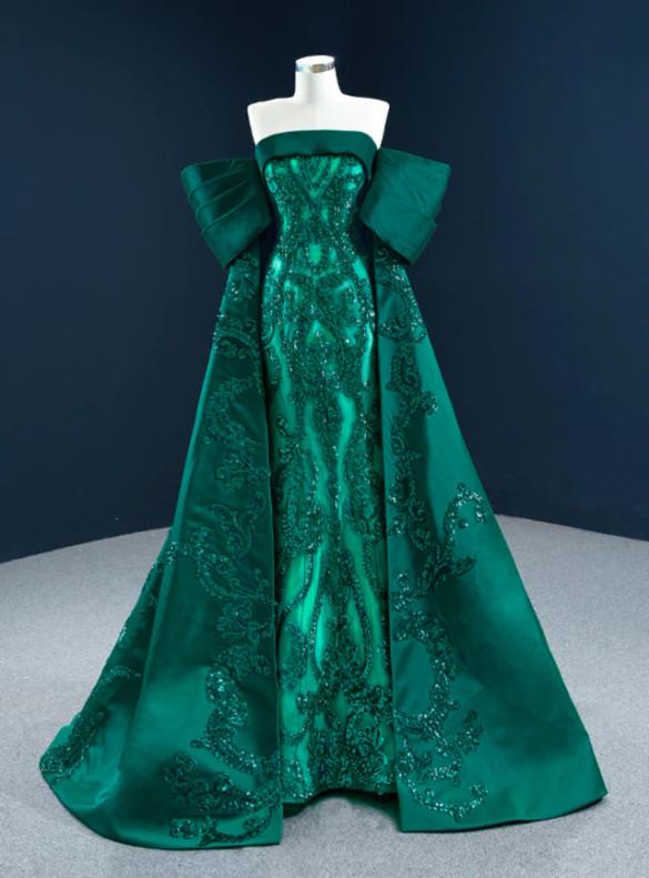 Green Mermaid Satin Sequins Appliques Prom Dress