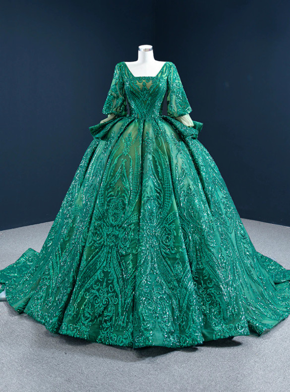 Green Ball Gown Sequins Square Short Sleeve Prom Dress