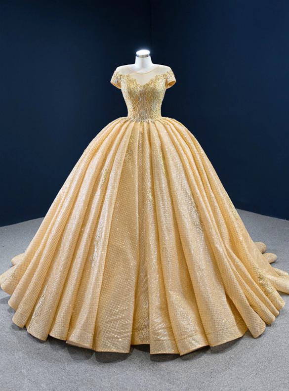 Gold Sequins Cap Sleeve Appliques Prom Dress