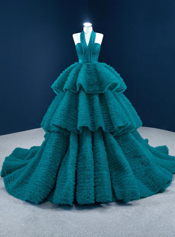 Peacock Blue Ball Halter Tulle Pleats Prom Dress