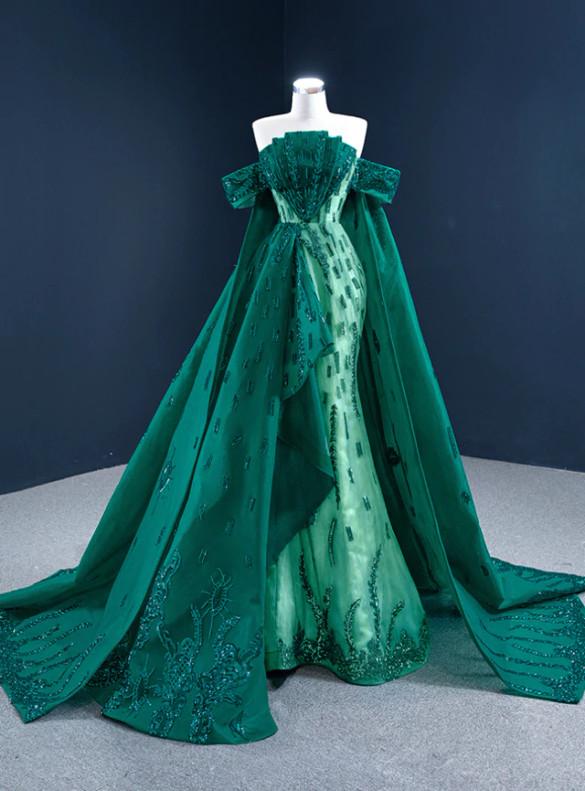 Sexy Green Mermaid Sequins Appliques Prom Dress