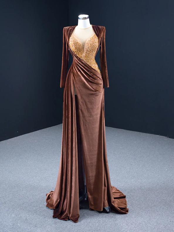 Coffee Velvet Long Sleeve Beading Prom Dress With Split
