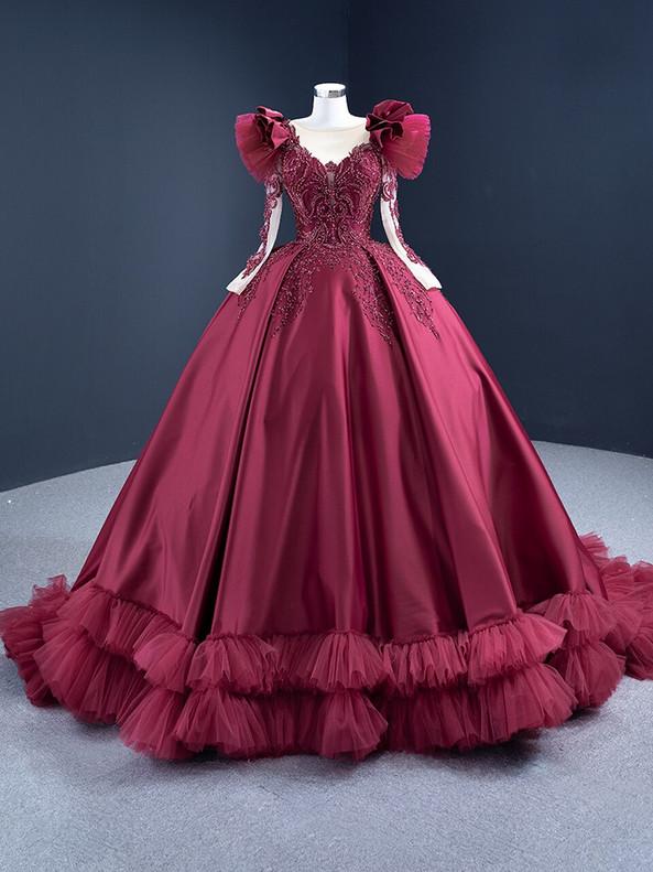 Burgundy Satin Long Sleeve Beading Prom Dress
