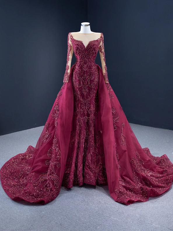 Sexy Burgundy Tulle Long Sleeve Beading Prom Dress
