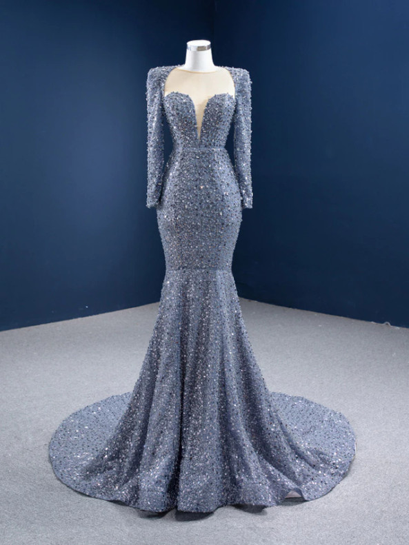 Gray Mermaid Sequins Pearls Prom Dress Prom Dress