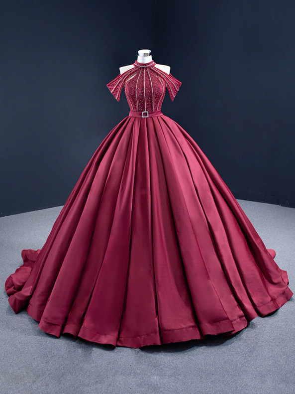 Red Satin Ball Gown Halter Beading Prom Dress