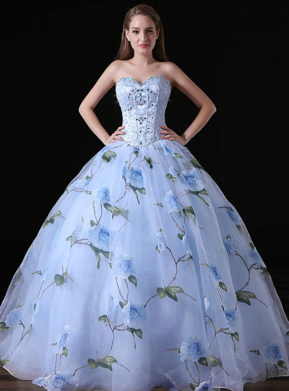 Light Blue Tulle Print Sweetheart Beading Quinceanera Dress