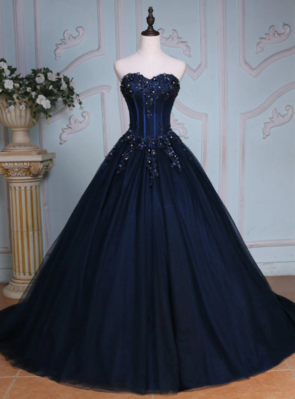 Navy Blue Tulle Strapless Beading Quinceanera Dress