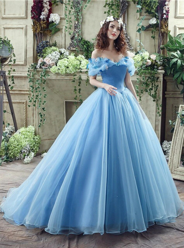 Light Blue Tulle Butterfly Appliques Sweet 16 Dress