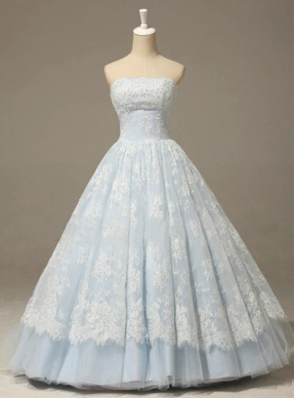 Blue Tulle Lace Strapless Quinceanera Dress