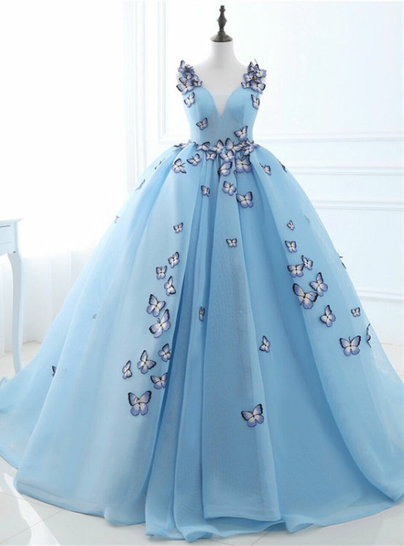 Blue Tulle V-neck Butterfly Appliques Sweet 16 Dress