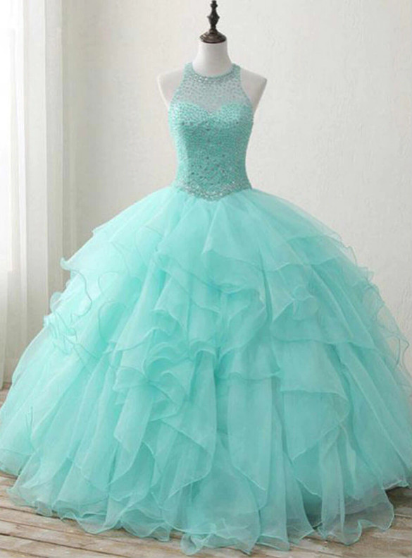 Green Ball Gown Backless Beading Sweet 16 Dress
