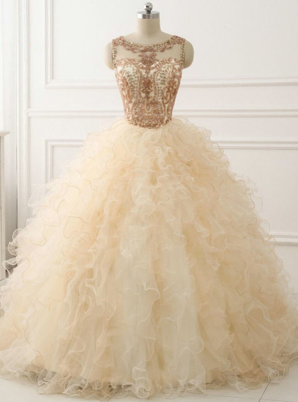 Champagne Orgaza Beading Sequins Quinceanera Dress