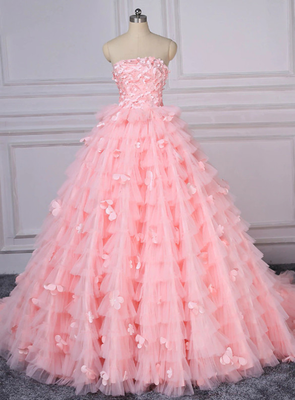 Pink Ball Gown Appliques Strapless Quinceanera Dress