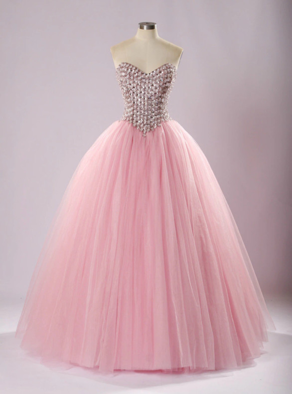 Pink Tulle Strapless Crystal Quinceanera Dress