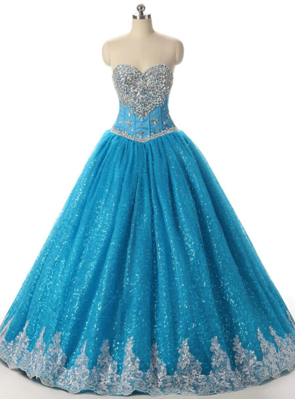 Blue Tulle Sequins Strapless Crystal Quinceanera Dress