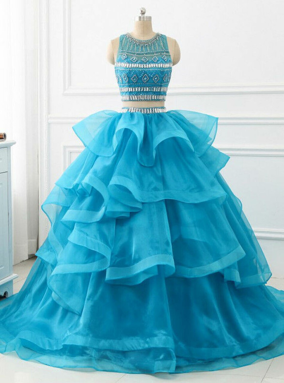 Blue Organza Backless Two Piece Sweet 16 Dress