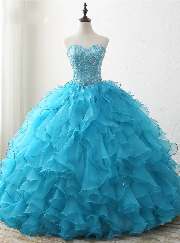 Blue Organza Sweetheart Beading Sequins Quinceanera Dress