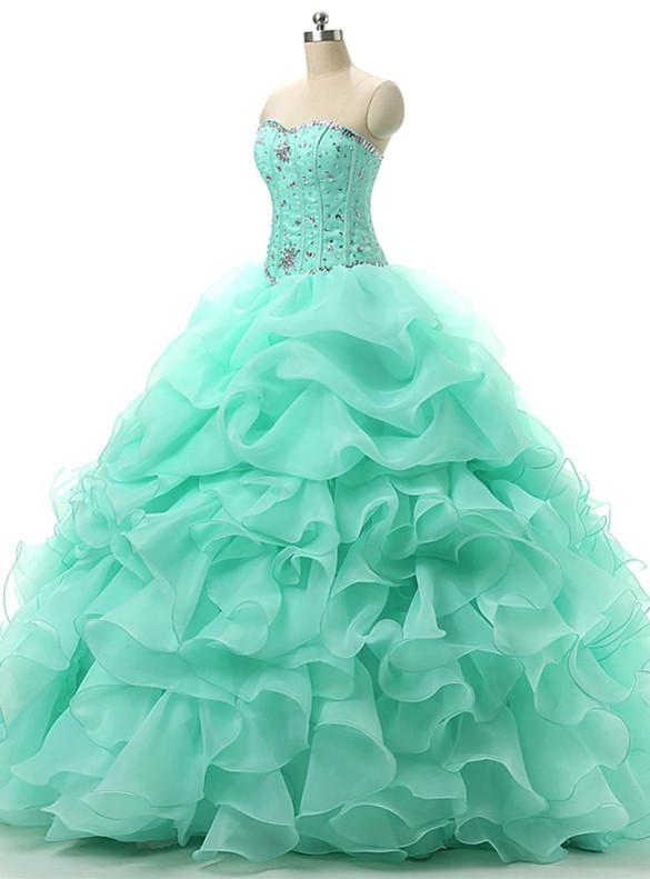 Green Organza Sweetheart Beading Quinceanera Dress