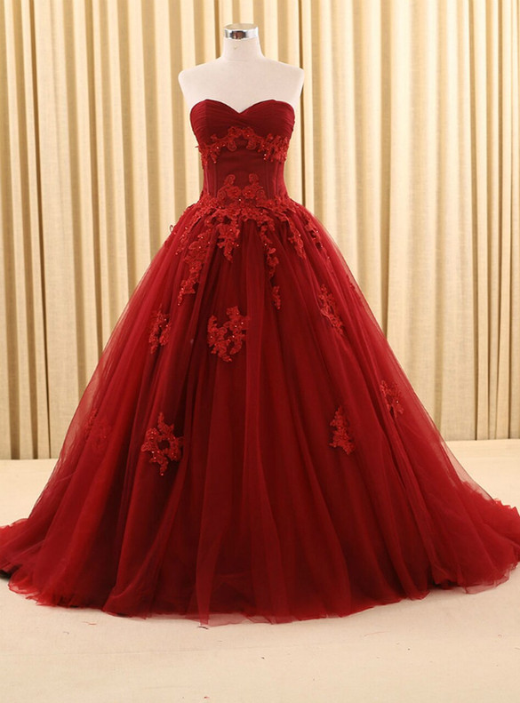 Burgundy Tulle Strapless Appliques Beading Quinceanera Dress