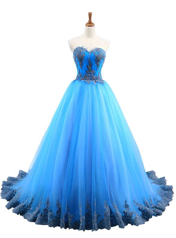 Blue Tulle Lace Appliques Pleats Sweet 16 Dress
