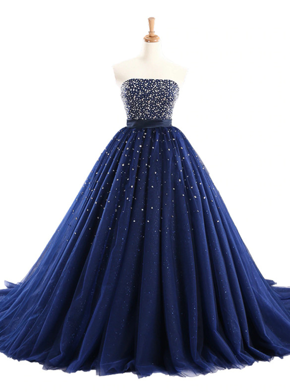 Blue Tulle Strapless Beading Quinceanera Dress