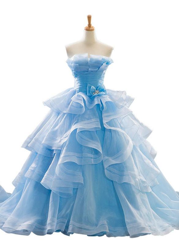 Light Blue Strapless Pleats Prom Dress