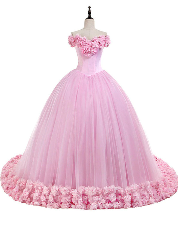 Pink Ball Gown Tulle Off the Shoulder 3D Appliques Dress